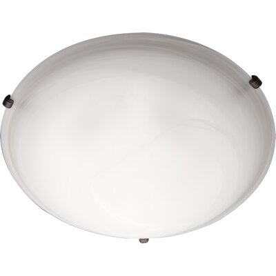 Barrett 2-Light Flush Mount Finish / Shade Color: Marble/Oil Rubbed Bronze, Size: 6 H x 20 W
