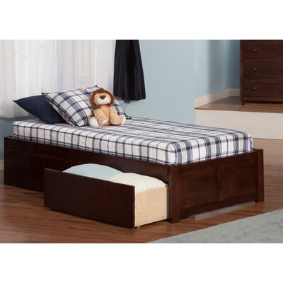 Mackenzie Extra Long Twin Platform Bed with Storage Color: Antique Walnut