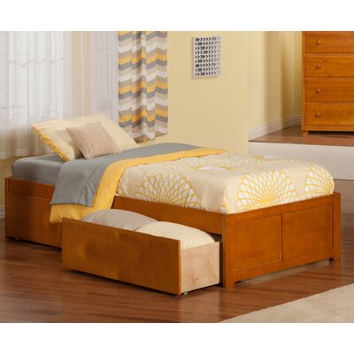 Mackenzie Extra Long Twin Platform Bed with Storage Color: Caramel Latte