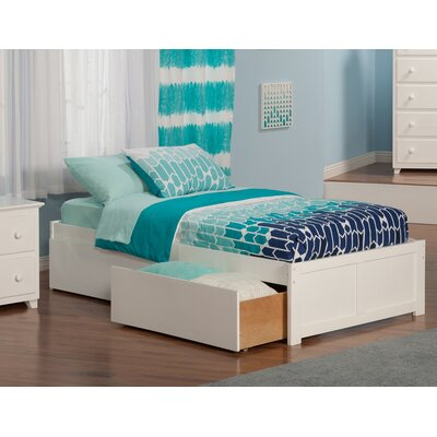 Mackenzie Extra Long Twin Platform Bed with Storage Color: White