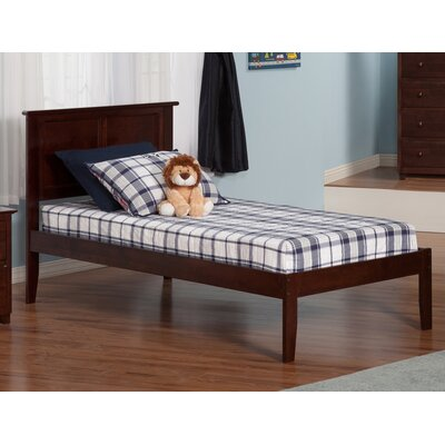Alanna Extra Long Twin Platform Bed with Open Foot Finish: Antique Walnut
