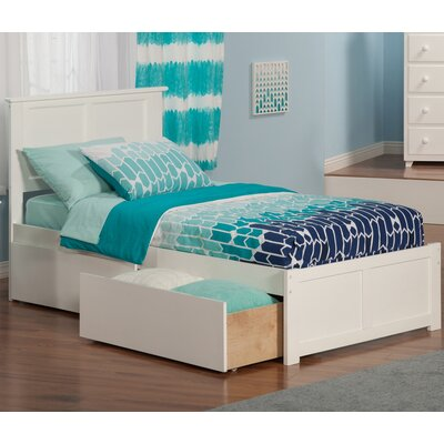 Alanna Extra Long Twin Platform Bed with Storage Finish: White