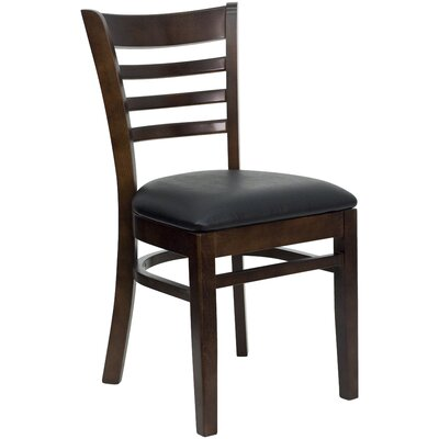 Lyman Chase Ladder Back Side Chair I Upholstery Color: Black Vinyl, Frame Color: Walnut