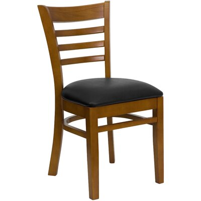 Lyman Chase Ladder Back Side Chair I Upholstery Color: Black Vinyl, Frame Color: Cherry