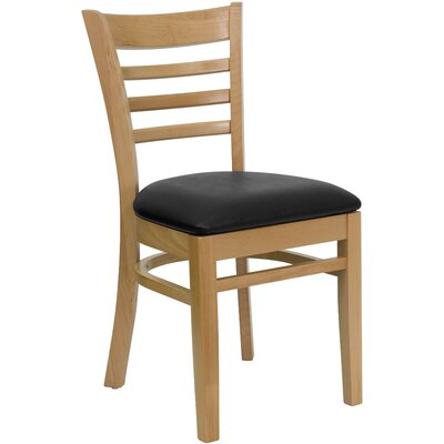 Lyman Chase Ladder Back Side Chair I Upholstery Color: Black Vinyl, Frame Color: Natural Wood