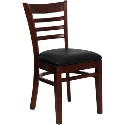 Lyman Chase Ladder Back Side Chair I Upholstery Color: Black Vinyl, Frame Color: Mahogany