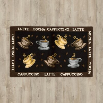 Greenmeadow Black Coffee Cups Area Rug