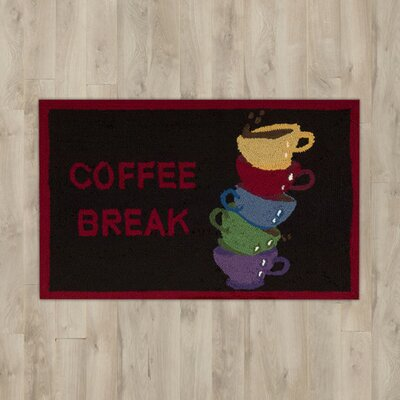 White Coffee Break Black Area Rug