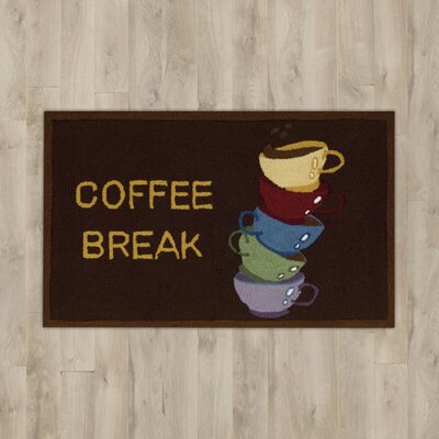 White Coffee Break Brown Area Rug