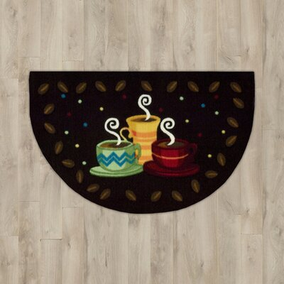 Greenmeadow Black Coffee Cups Entry Rug