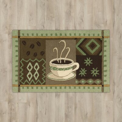 White Green Coffee Area Rug