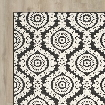 Deweese Black/Beige Outdoor Area Rug Rug Size: Rectangle 4 x 6