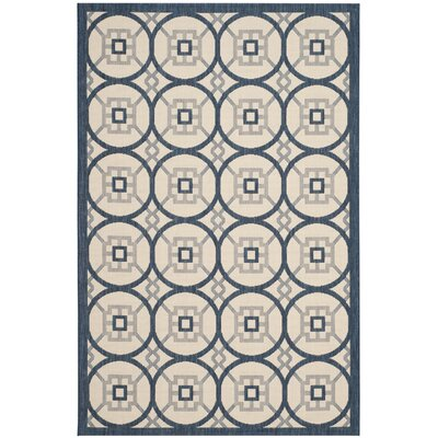 Raymond Beige/Navy Indoor/Outdoor Area Rug Rug Size: 53 x 77
