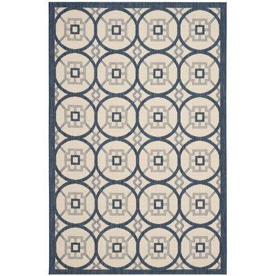 Raymond Beige/Navy Indoor/Outdoor Area Rug Rug Size: Rectangle 53 x 77