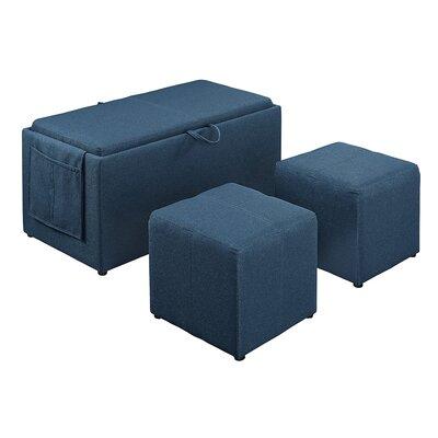 Urbank 3 Piece Ottoman Set Upholstery: Lapis Blue