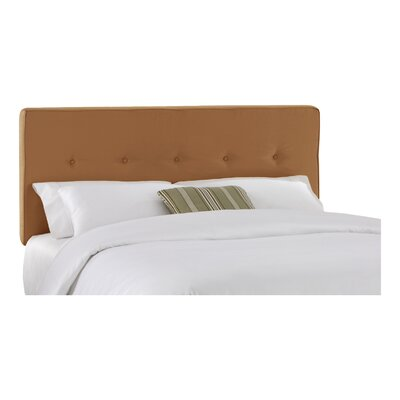 Woodview Tufted Premier Button Microfiber Suede Upholstered Panel Headboard Size: Twin, Finish: Saddle