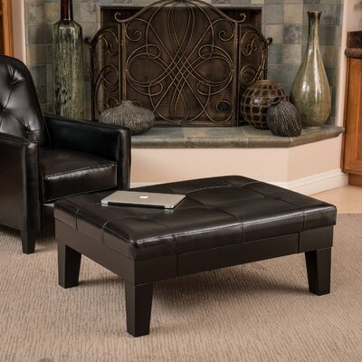 Leather Storage Ottoman Upholstery: Black