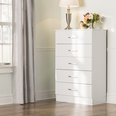 Chester 5 Drawer Chest Color: White