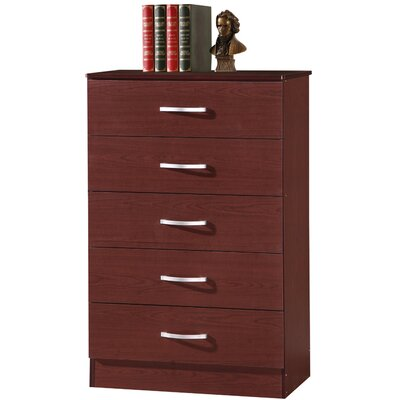 Chester 5 Drawer Chest Color: Mahogany