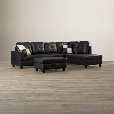Russ Sectional Upholstery: Black, Orientation: Right Hand Facing