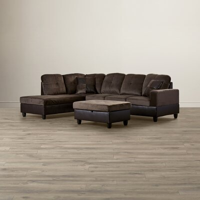 Russ Sectional Upholstery: Dark Brown, Orientation: Right Hand Facing
