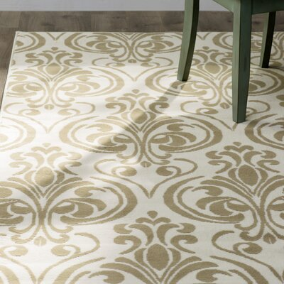 Pearl Ivory Damask Indoor/Outdoor Area Rug Rug Size: Rectangle 67 x 96