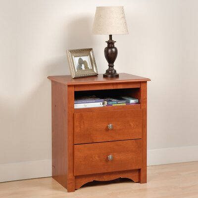 Sybil 2 Drawer Nightstand Finish: Cherry