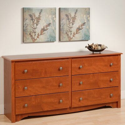Sybil 6 Drawer Double Dresser Color: Cherry