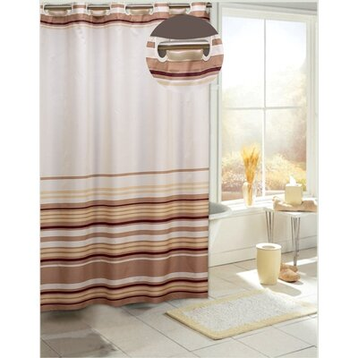 Allenwood Stripes Shower Curtain Color: Brown