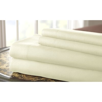 Gaston Microfiber Embroidered Sheet Set Size: King, Color: Ivory