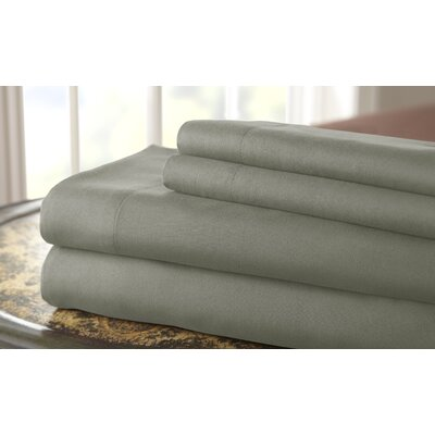 Gaston Microfiber Embroidered Sheet Set Size: King, Color: Silver