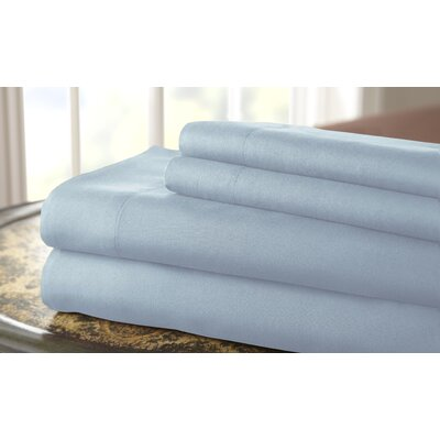 Gaston Microfiber Embroidered Sheet Set Size: King, Color: Sky Blue