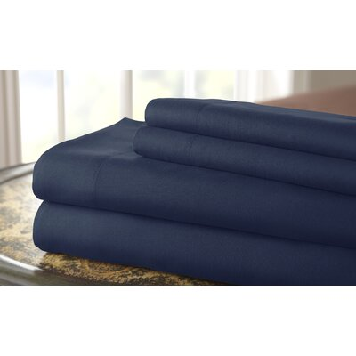 Gaston Microfiber Embroidered Sheet Set Size: King, Color: Navy