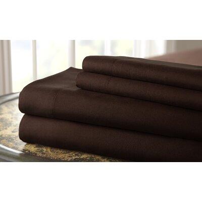 Gaston Microfiber Embroidered Sheet Set Size: King, Color: Chocolate