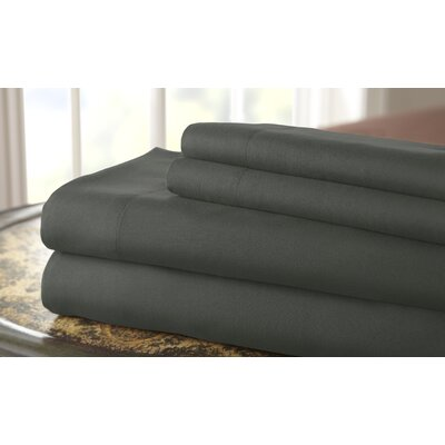 Gaston Microfiber Embroidered Sheet Set Size: King, Color: Dark Gray / Platinum
