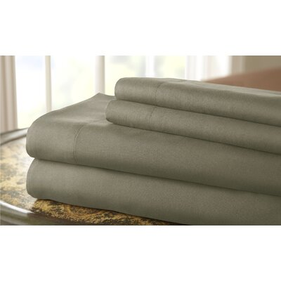 Gaston Microfiber Embroidered Sheet Set Size: King, Color: Taupe