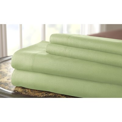 Gaston Microfiber Embroidered Sheet Set Color: Sage, Size: Queen