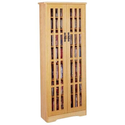 Jones Glass Door Tall Multimedia Storage Cabinet Finish: Oak