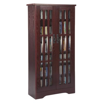 Jones Glass Door Tall Multimedia Storage Cabinet Finish: Dark Cherry