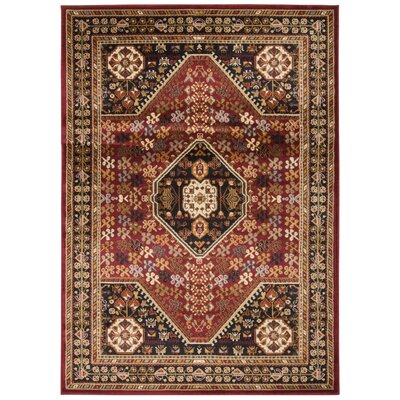 Leland Red Area Rug Rug Size: Rectangle 53 x 73