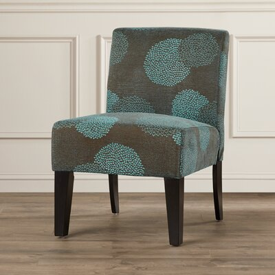 Slipper Chair Upholstery: Blue Sunflower