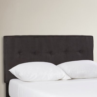 Woodview Tufted Premier Button Microfiber Suede Upholstered Panel Headboard Size: Queen, Finish: Black