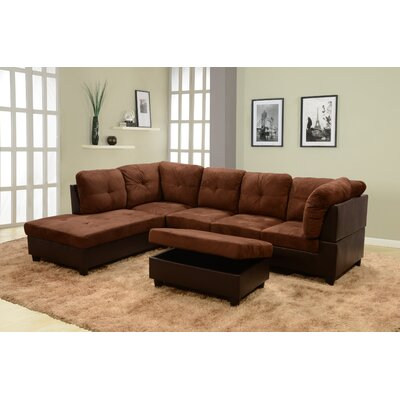 Russ Sectional with Ottoman Upholstery: Dark Brown, Orientation: Left Hand Facing