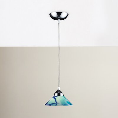 Sharpe 1-Light Mini Pendant Finish: Polished Chrome with Carribean Glass