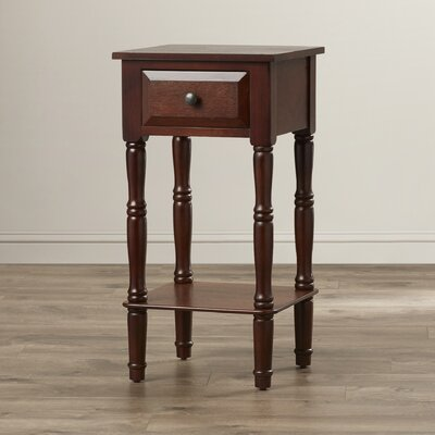 Everly 1 Drawer End Table Finish: Walnut