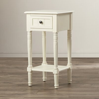 Everly 1 Drawer End Table Finish: Antique White