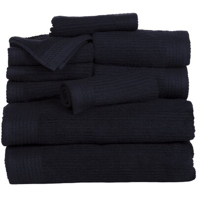 Pernelia 10 Piece Egyptian Quality Cotton Towel Set Color: Black