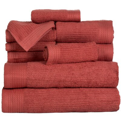 Pernelia 10 Piece Egyptian Quality Cotton Towel Set Color: Brick
