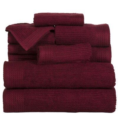 Pernelia 10 Piece Egyptian Quality Cotton Towel Set Color: Burgundy