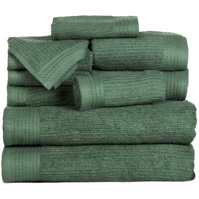 Pernelia 10 Piece Egyptian Quality Cotton Towel Set Color: Green